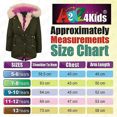 Kids Hooded Jacket Girls Pink Fur Parka School Jackets Outwear Coat 5-13 Year