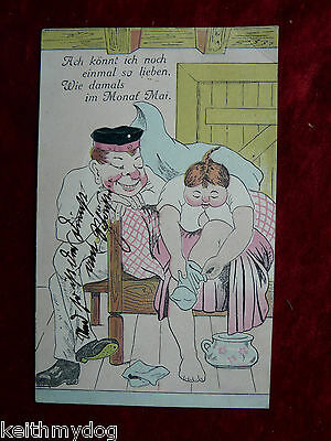 Early Vintage German Military Postcard:Humour:Sent in 1909