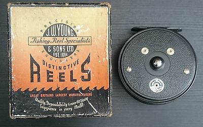 "Vintage J W Young Pridex 4"" Fly Fishing Reel In Original Box"