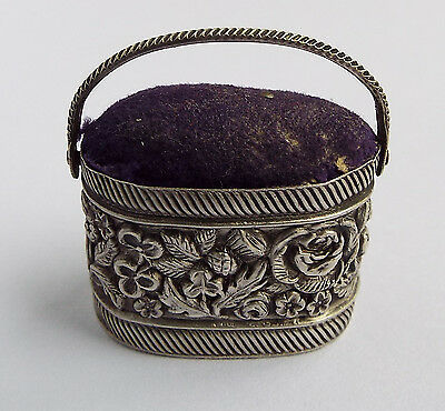 SUPERB RARE EARLY ANTIQUE GEORGIAN c1825 SOLID SILVER NOVELTY BASKET PIN CUSHION