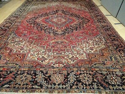 "Large PERSIAN RUG CARPET Wool HAND MADE TRADITIONAL ANTIQUE 12ft 10"" x 9ft 7"
