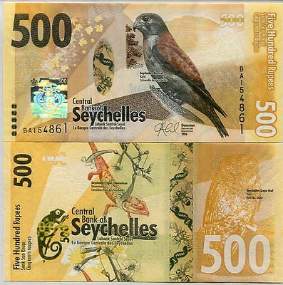 Seychelles 500 Rupees Nd 2016 P New Design Hybrid Window Unc