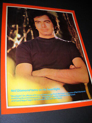 NEIL DIAMOND wearing black tee with arms crossed Preserved 1982 PROMO DISPLAY AD
