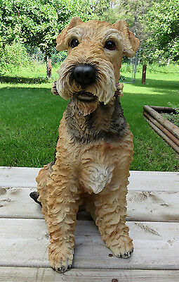 AIREDALE TERRIER DOG STATUE FIGURINE  17.9 In H. CANINE HOME DECOR NEW
