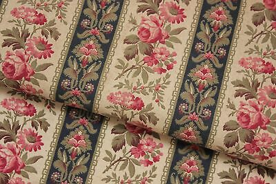 Antique French floral stripe cotton fabric material c 1890  19th century