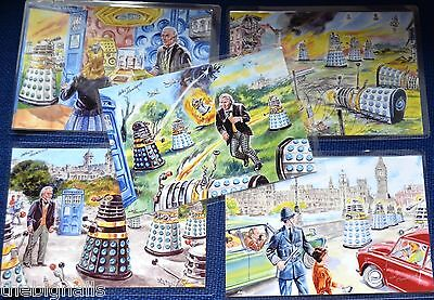 DOCTOR WHO Set of 5 Classic DALEK Pictures by Walt Howarth