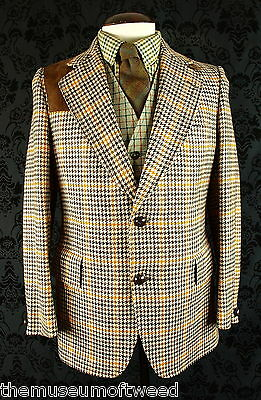 "Superb Mens Vtg Austin Reed Manx Tweed Suede Norfolk Jacket Blazer 40"" Medium"