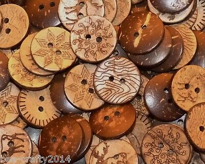 'clearance Seconds' 50/100 Assorted Pattern Coconut Wood Buttons 15Mm# Crafts