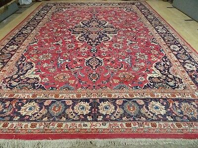 "large PERSIAN RUG CARPET Wool HAND MADE TRADITIONAL ANTIQUE 13ft 3"" x 9ft 11"""