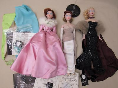 Lot of Ashton Drake Gene Assortment 3 Dolls, Doll Stand and Outfits