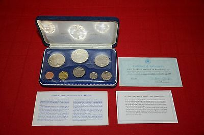 1973 Barbados First National Coinage Proof Set Original Box COA Coins #900