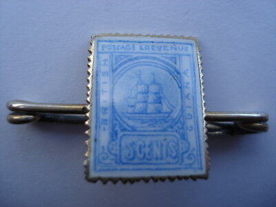 C1910 British Guiana 5 Cents Silver&hand Painted Enamel Stamp Shape Pin Brooch