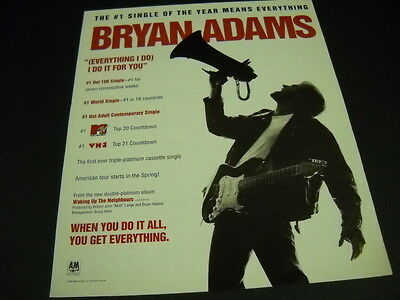 BRYAN ADAMS The #1 Single Means Everything 1991 PROMO POSTER AD mint condition