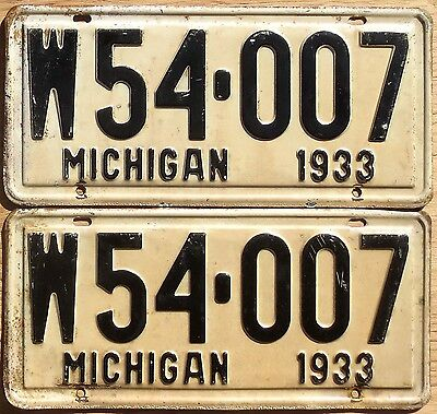 1933 Michigan License Plate Number Tag PAIR Plates