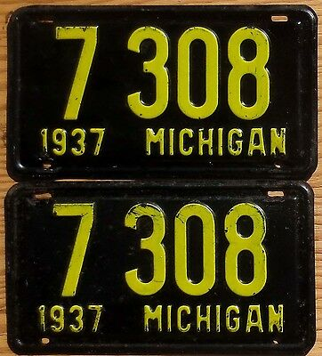 1937 Michigan License Plate Number Tag PAIR Plates - Four Digit