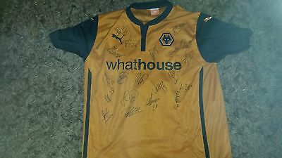 """Superb Wolverhampton Wanderers Home Shirt Signed By 20 - """"proof"""""""