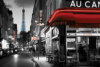 "Rue Parisienne Paris France photography poster 24x36"" Eiffel Tower"