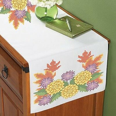 Fall Flowers - Stamped for Cross Stitch - TABLE RUNNER/Dresser Scarf