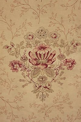 Vintage French faded floral 1880 STUNNING Indienne design cotton material