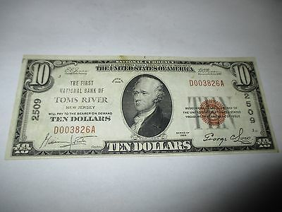 $10 1929 Toms River New Jersey NJ National Currency Bank Note Bill Ch. #2509 VF!
