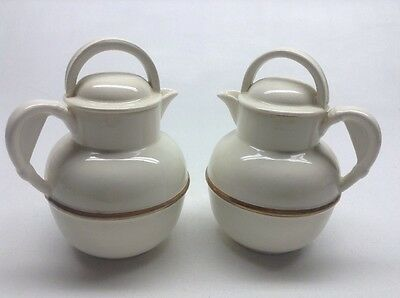 Vintage Pair Of Crown Ducal Golden Guernsey Creamers