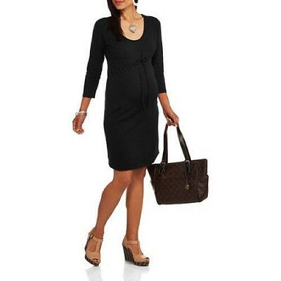 Oh! Mamma Maternity 3/4 Sleeve Knit Dress with Drawstring Waist, Black, X-Large