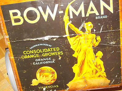 orange crate advertising 1930's California orange growers BOWMAN  brand valencia