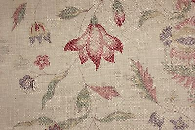 Vintage French printed linen faded Indienne design shabby chic