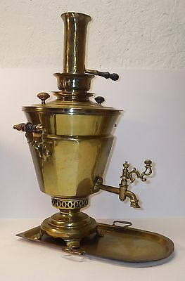 """Antique Russian Samovar-Urn-Signed-Solid Brass w/Tray-19th Cent-16""""-CLEAN-L@@K!"""