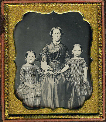 Daguerreotype Copy Mother 2 Girls Maybe Twins Dag