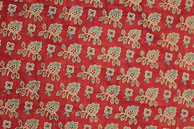 Antique Provincial block printed French all over set fabric red ground c 1810