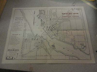 Vintage Welcome to Door County Churches,Eat Spots,Motels Sturgeon Bay,WI Map