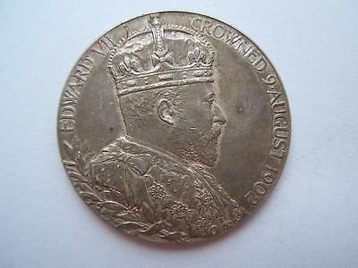 1902 silver KING EDWARD VII Coronation COIN medal VERY GOOD commemorative