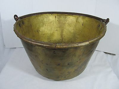 Vintage Rustic Large Copper Pot Planter Hand Forged With Handles