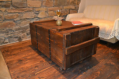 Vintage chest coffee table* Rustic wood pine Chest Trunk Blanket Box