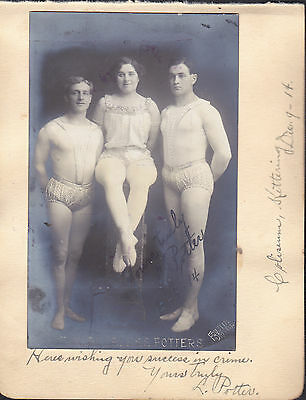 The Peerless Potters  Music Hall Acrobatic Troupe Signed Postcard Photograph