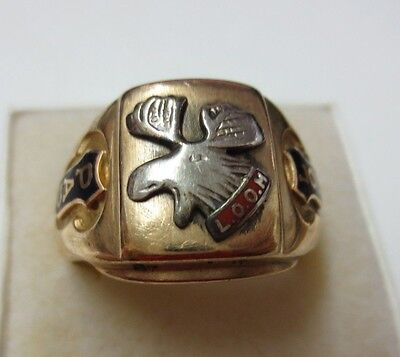 10KT Solid Gold Loyal Order Of The Moose (LOOM) Fraternal Ring (Size 10.5)