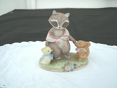 RACOON  w Rabbit/Duck  by Lefton --#2352--Hand Painted--New with Tag