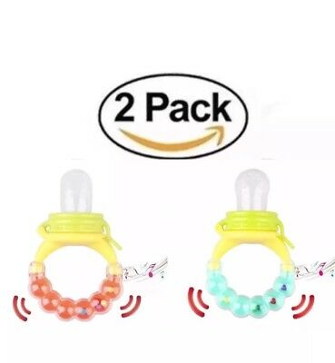 Two USA Food Feeder Teething Pacifier Baby Toddler Fruit Toy Silicone Teether