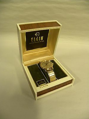 Vintage Men's ELGIN  Gold Tone Date Watch Wristwatch With Box (A15)