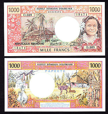 Tahiti 1000 Francs ND 1985 Sign. 5  P. 27d UNC Note