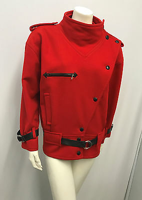 Vintage Courreges Jacket Space Age Style Red 40% Cashmere Black Leather Trim Oo