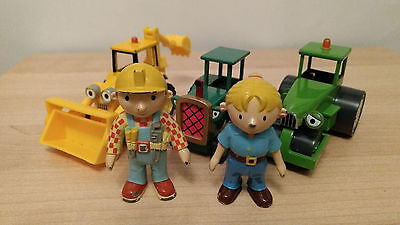 Bob The Builder * 3 Die Cast Vehicles And Bob And Wendy Figures
