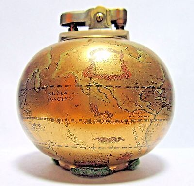 Vintage Table Lighter, In Shape of Old World Globe, Working Condition, Japan
