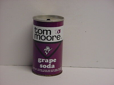 Vintage Tom Moore Grape Straight Steel Pull Tab Top Opened Soda Can