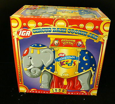 1998 IGA Circus Daze Special Edition Cookie Jar - New in Box / Blue Hat Elephant