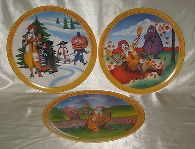 1977 McDonald's Four Seasons Plates 3 of 4 Spring Winter Fall