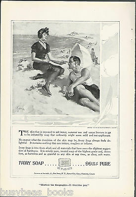 1917 IVORY Soap advertisement, Couple on the beach, old time bathing suits