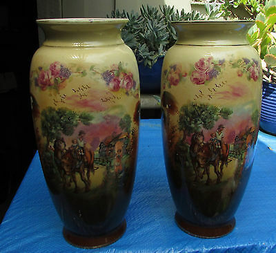 Stunning Original Pair Early  Large Mantle Vases Foch England