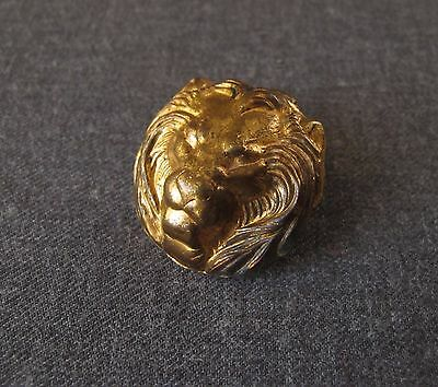Vintage Lion Head Golden Metal Large Button